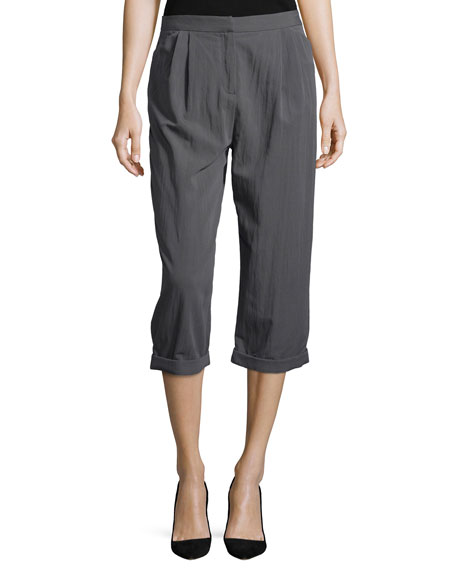 Halston Heritage Straight-Leg Cropped Pants, Lead