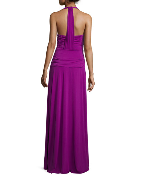 V-Neck Twist-Front Evening Gown, Purple