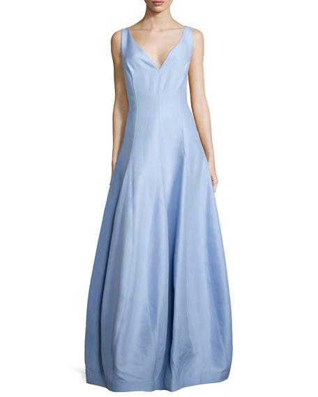 Halston Heritage HALSTON SL V Neck Gown