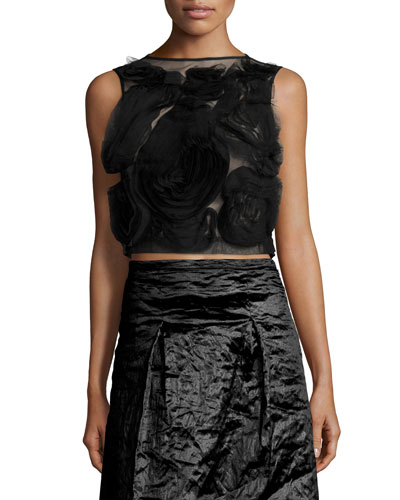 Sleeveless Floral Tulle Crop Top