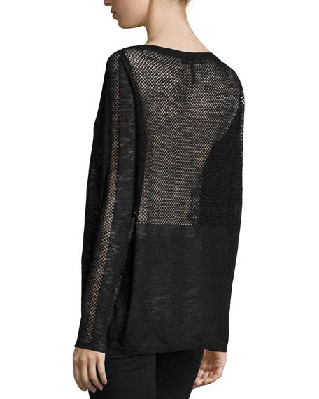 Long-Sleeve Bateau-Neck Sweater, Black