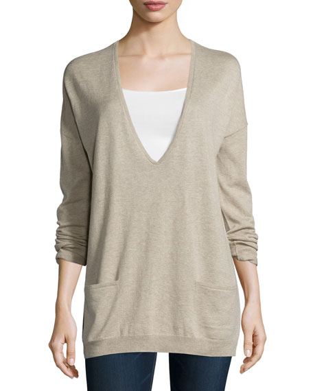 Halston Heritage Long-Sleeve V-Neck Sweater, Heather Stone