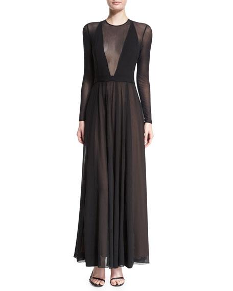 Camilla and Marc Long-Sleeve V-Neck-Illusion Flowy Dress