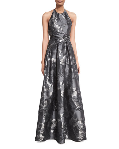 Floral Halter Ball Gown, Black/Silver
