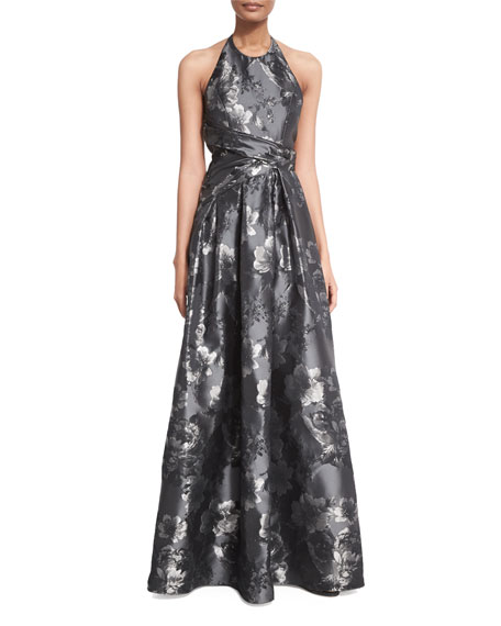 Carmen Marc Valvo Floral Halter Ball Gown, Black/Silver