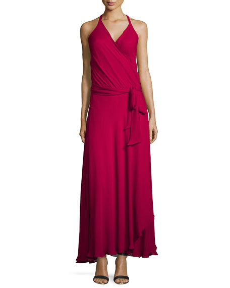 Haute Hippie Sleeveless Halter-Neck Wrap Gown, Garnet