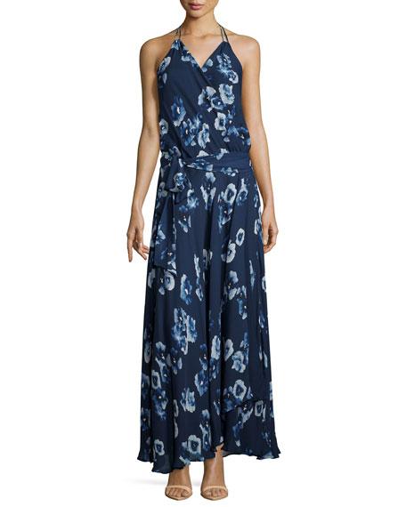 Haute Hippie Halter-Neck Floral-Print Wrap Dress, Midnight/Swan