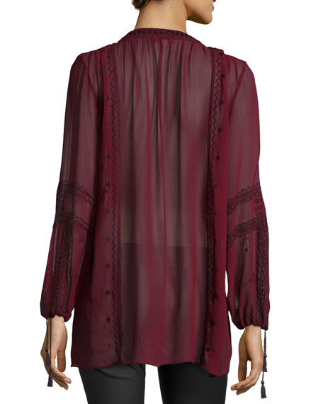 Zandy Long-Sleeve Tunic, Dark Garnet