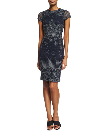 Catherine Deane Carlotta Short-Sleeve Embroidered Cocktail Dress