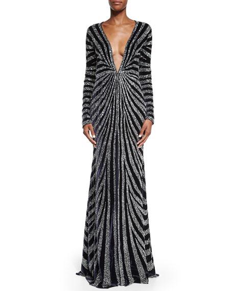 Linear-Beaded Velvet Kimono Gown, Navy/Silver