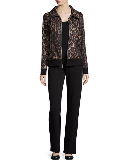 Neiman Marcus Plush Animal-Print Jacket & Pant Set