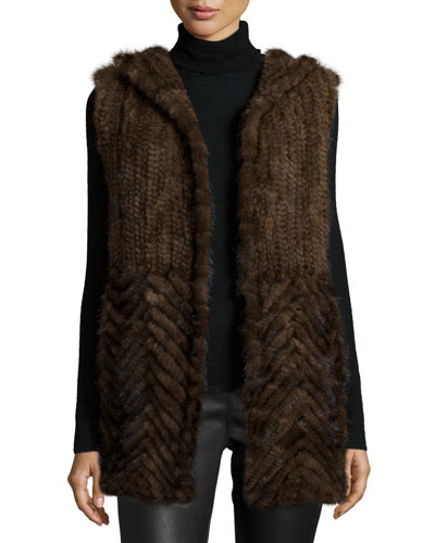 Knitted Mink Fur Vest w/ Hood