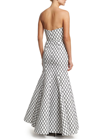 Aria Diamond-Print Mermaid Gown, Black/White