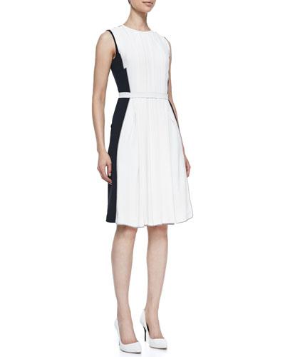 Sleeveless Pleated Colorblock Dress