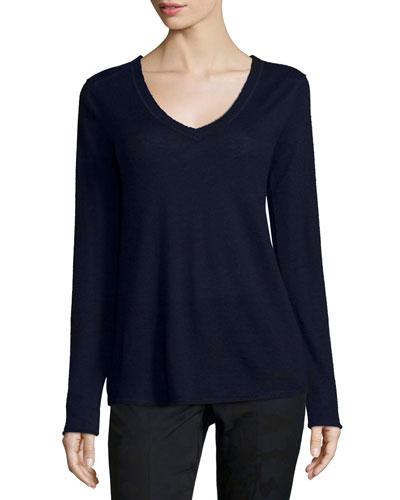 V-Neck Raw-Edge Cashmere Sweater