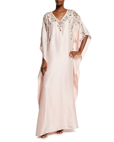 3/4-Sleeve Embellished Caftan Gown, Blush