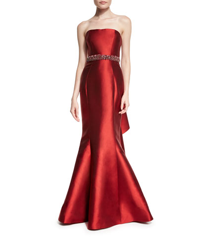 Strapless Embellished-Waist Two-Tone Gown, Red/Fuchsia