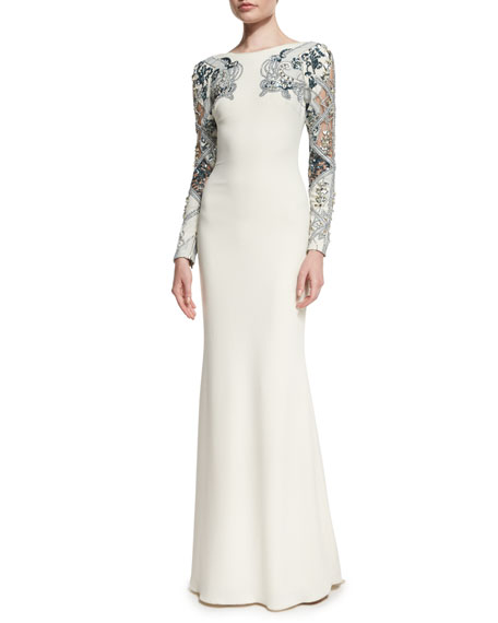 Embellished Long-Sleeve Gown, Ivory