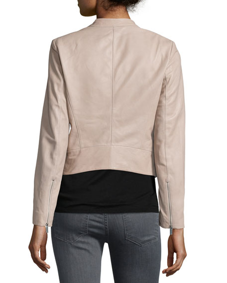 Libertini Collarless Leather Jacket