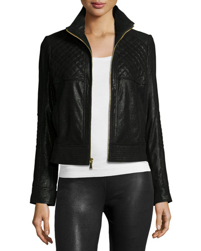 Pearlized Quilted Leather Jacket