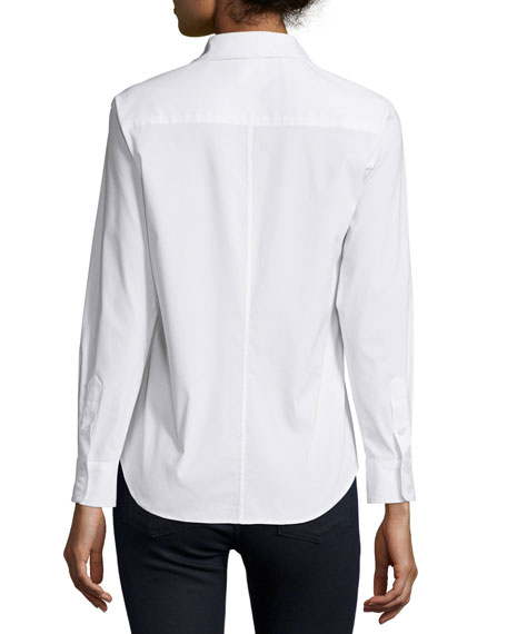 Alex Button Front Blouse, White