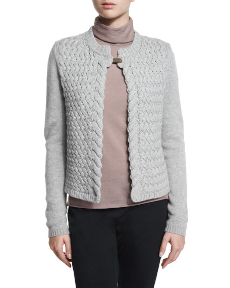Peserico Cable-Knit Cardigan with Tab Closure