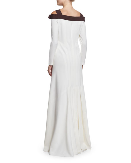 Cold-Shoulder Two-Tone Gown, White/Black