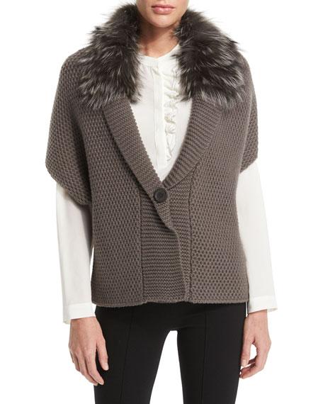 Peserico Popcorn-Knit Fur-Collar Sweater