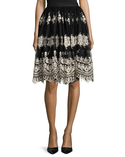 Justina Embroidered Tulle Skirt, Black/Gold