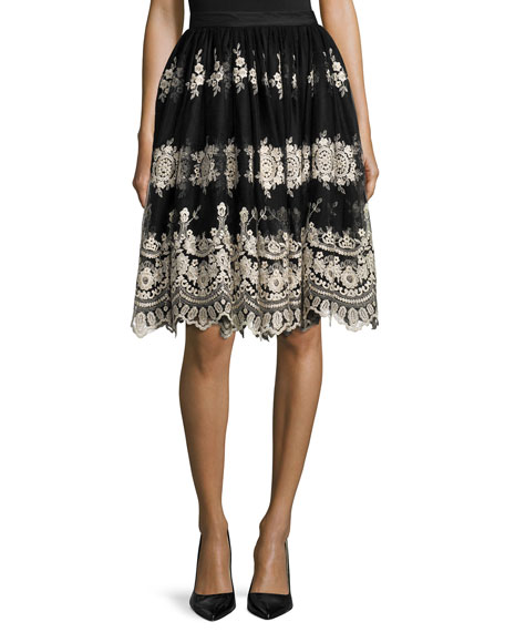 Alice Olivia Justina Embroidered Tulle Skirt Black Gold