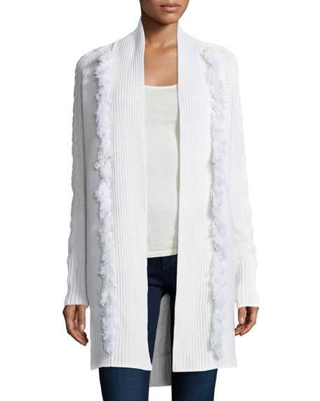 Tess Giberson for Neiman Marcus Cashmere Collection Cable-Knit Duster W/ ...