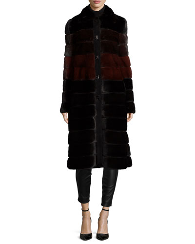Colorblock Horizontal-Mink Fur Coat, Black/Garnet/Mahogany