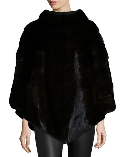 Mink Fur Asymmetric Poncho, Black