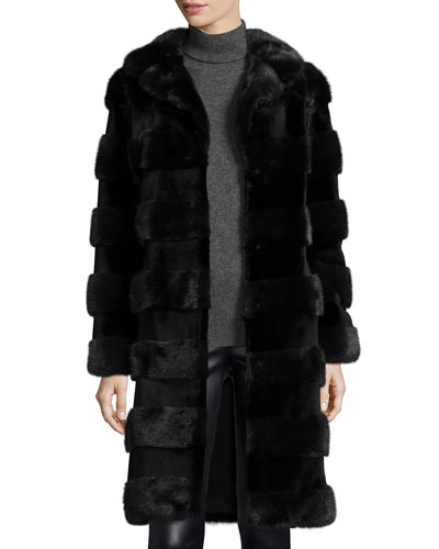 Horizontal Stripe Mink Fur Stroller Coat, Navy/Black