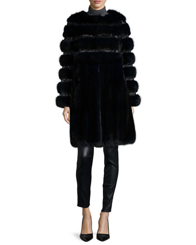 Nafa Embroidered Sable Fur Coat, Navy