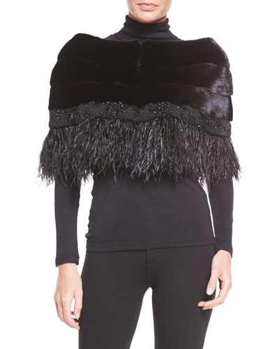 Adler Mink Fur Capelet W/Feather Trim, Black