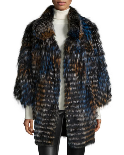 Layered Silver Fox Fur Belted Cape, Navy/Orange