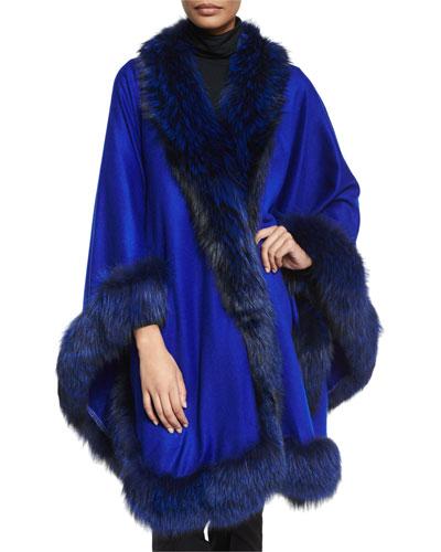 Cashmere Maxi Cape W/Fur Trim, Royal Blue
