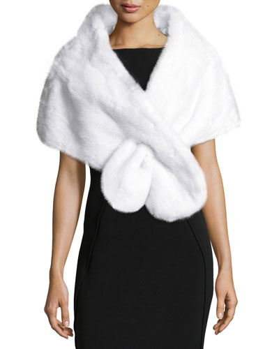 Mink Fur Pull-Through Wrap, White