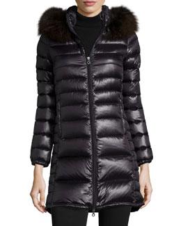 Ociroe Long Puffer Coat with Fur Hood