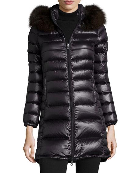 Duvetica Ociroe Long Puffer Coat with Fur Hood