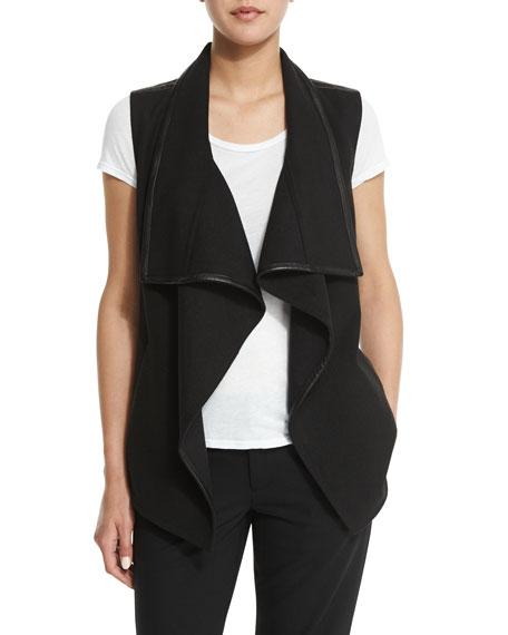 Drape-Collar Vest with Leather Trim