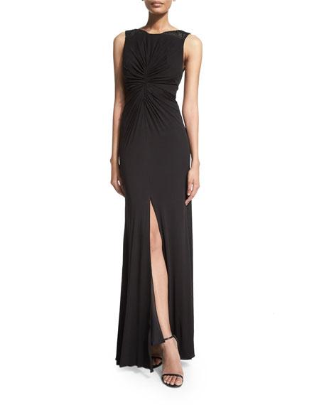 ML Monique Lhuillier Sleeveless Ruched-Front Dress, Black