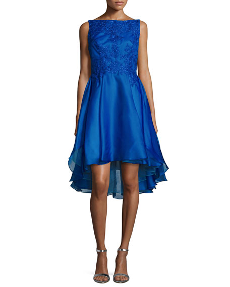 ML Monique Lhuillier BATEAU NECK HI LOW COCKTAIL