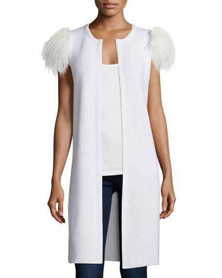Neiman Marcus Cashmere Collection Mongolian-Shoulder Long Cashmere Vest