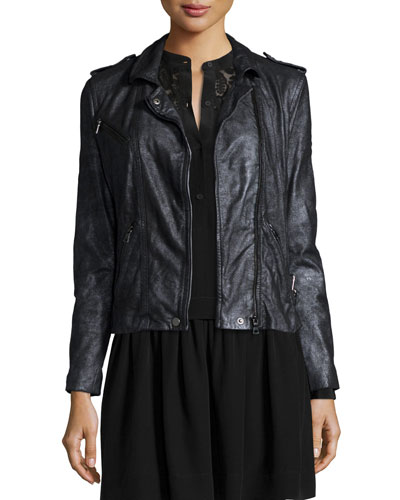 Metallic-Leather Zip-Front Motorcycle Jacket, Gunmetal