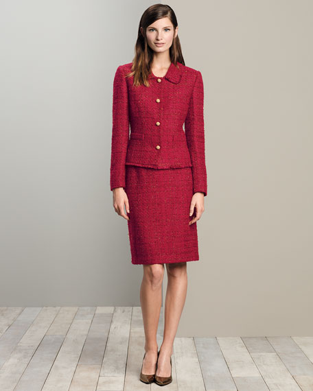 LS BTTN FRT TWEED SKIRT SUIT