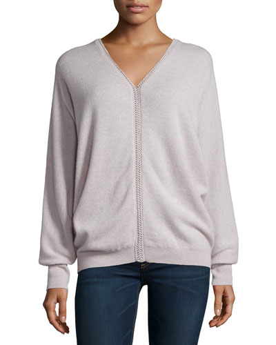 V-Neck Dolman-Sleeve Cashmere Sweater