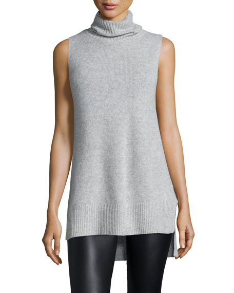 360Sweater Morton Sleeveless Long Cashmere Turtleneck