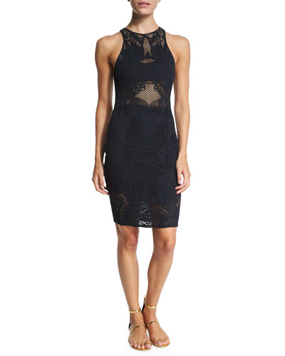 Floral-Lace Jacquard Midi Dress